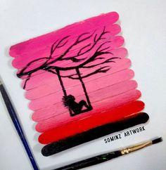 Popsicle Stick Art, Popsicle Stick Crafts, Craft Stick Crafts, Cool Art Drawings, Pencil Art Drawings, Oil Pastel Drawings, Diy Arts And Crafts, Diy Crafts, Art N Craft
