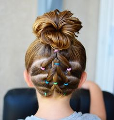 "543 Likes, 22 Comments - Tiffany ❤️ Hair For Toddlers (@easytoddlerhairstyles) on Instagram: ""It's been a while since we did a style up the back. Connected ponies into a high messy bun."""