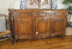 ~Gorgeous antique French carved sideboard with a stunning silhouette and several different storage options! French Sideboard, Antique Sideboard, Sideboard Cabinet, Vintage Furniture, Diy Furniture, Antique Buffet, Oak Table, French Decor, French Antiques