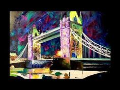 Time-lapse video of a palette knife painting in oils on canvas. Impressionism, Contemporary Impressionism, Fine Art, Cityscape, Image, Painting, London Print, Prints, Night