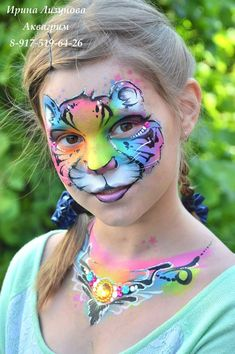 Tiger face paint and decolettage(? Girl Face Painting, Face Painting Designs, Painting For Kids, Tiger Face Paints, Butterfly Face Paint, Hobbies To Try, Animal Paintings, Face Paintings, Mountain Tattoo