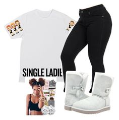 """yes I Am Single ugghhh"" by candyyumyum5 ❤ liked on Polyvore featuring UGG Australia"