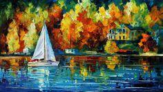 Lake Painting  House Of The Lake  Sailing Oil by AfremovArtStudio