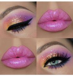 Lip wedding makeup make up highlighter Professional Makeup Brush Cleaner & Dryer Pink Makeup, Cute Makeup, Gorgeous Makeup, Beauty Makeup, Amazing Makeup, Glitter Makeup, Makeup Style, Hair Makeup, Colorful Makeup