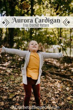 Aurora Cardigan for Girls – Free Crochet Cardigan Pattern – A Crocheted Simplicity Free Crochet Cardigan Pattern – Aurora Cardigan … Crochet Girls, Crochet For Kids, Free Crochet, Knit Crochet, Crochet Sweaters, Crochet Baby, Crochet Children, Knitted Baby, Crochet Tops