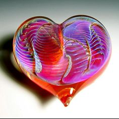 """""""Orange Silver Heart Paperweight"""" created by Robert Burch"""