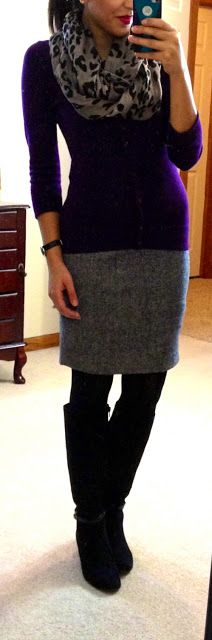 sheath dress (in dark grey), cardi (in purple), leopard scarf, boots