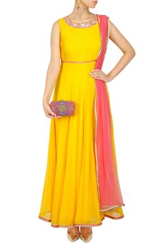Yellow and pink embroidered pleated anarkali set BY SVA. Shop now at: http://www.perniaspopupshop.com/ #perniaspopupshop #embroidered #pleated #yellowandpink #anarkali #label #love #attractive #designer #SVA #beautiful #gorgeous #vibrant #fashion #style #exquisite #happyshopping #creative
