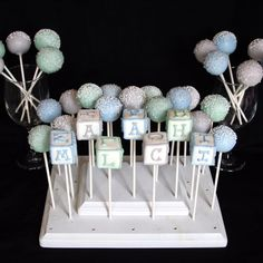 6 Baby Block Cake Pops personalized with name by SweetWhimsyShop, $21.00 primary colors