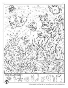 Great Barrier Reef Find the Object Printable Hidden Object Puzzles, Hidden Picture Puzzles, Worksheets For Kids, Activities For Kids, Spot The Difference Printable, Find The Hidden Objects, Find Objects, Hidden Pictures Printables, Visual Memory