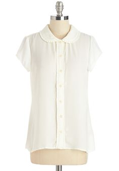 Clever So Charming Top. Every gal needs a versatile top that mixes and matches effortlessly, and this prim and pretty white blouse makes an impeccable addition to any wardrobe. #white #modcloth