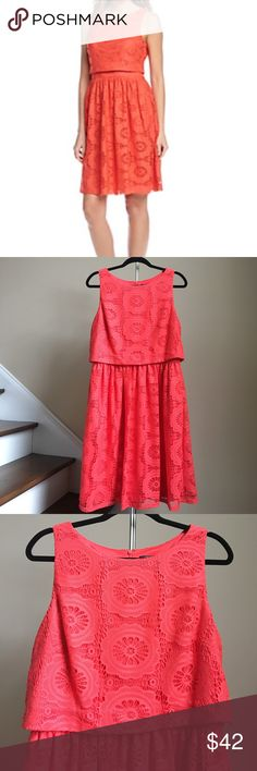 "🆕 Jessica Howard Dress Beautiful popover floral lace dress from Jessica Howard. Lined. Shell 100% Cotton. Lining 100% Polyester. Color is Coral. Approx. measurements: bust 40"", waist 33"", length 38"". 🚨Price firm unless bundled! 🚨 Jessica Howard Dresses"