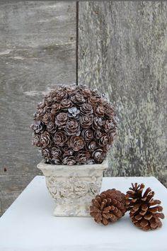 Outdoor Pinecone Bush In A Stoneware Pot