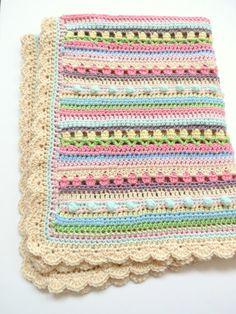 Crochet Baby Blanket Pattern - Confetti Baby Blanket - Easy Crochet Patterns by Deborah O'Leary Baby Blanket Pattern - Crochet Baby Blanket Pattern - Confetti Baby Blanket Crochet Simple, Crochet Blanket Patterns, Baby Blanket Crochet, Baby Patterns, Crochet Stitches, Manta Crochet, Baby Afghans, Baby Blankets, Crochet Projects