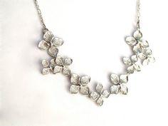 Silver flower necklace,  Dogwood jewelry