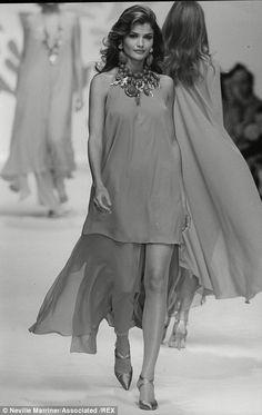 Through the ages: Helena Christensen on his catwalk in 1992 wearing Oscar de la Renta