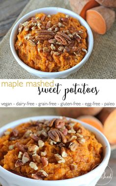 Maple Mashed Sweet Potatoes | http://simplynourishedrecipes.com/maple-mashed-sweet-potatoes/