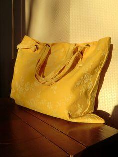 Grand sac toile à matelas jaune : Sacs à main par le-fil-en-tete