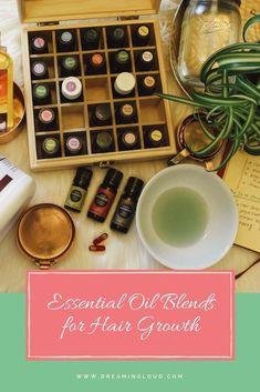 3 DIY Essential Oil Blends for Hair Growth and to Reduce Hair Fall | dreamingloud.com -------------------------------------- Rosemary Oil, Peppermint oil, chamomile oil, jojoba oil, coconut oil, cedar wood oil, essential oil diy recipes, natural beauty recipes, skincare, hair growth recipes, organic beauty,