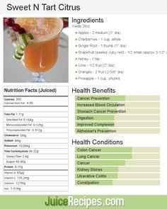 Sweet N Tart Citrus juice recipe Healthy Juice Recipes, Juicer Recipes, Healthy Juices, Healthy Smoothies, Healthy Drinks, Detox Smoothies, Green Smoothies, Vegetable Smoothies, Detox Juices