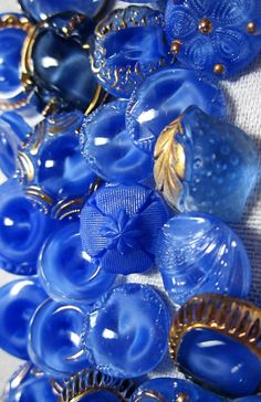 Beautiful Blue Vintage Glass Buttons ~ mostly MoonGlow.