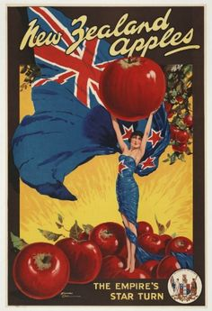 New Zealand Apples Vintage Advertising Poster for Sale - New Zealand Art Prints Vintage Labels, Vintage Postcards, Vintage Ads, Vintage Prints, Vintage Signs, Vintage Advertising Posters, Vintage Travel Posters, Vintage Advertisements, Advertising Design