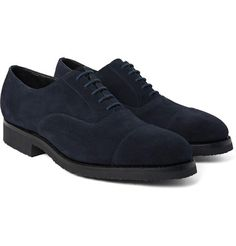 Mr. Porter is proud to present J.M. Weston 300 Suede pumps, J.M.Weston's '300' Oxford shoes are a casual yet impressive take on the formal style. Made in France from smooth suede, they're designed with cap-toes and set on supportive rubber-crepe soles. The navy colour - right down to the laces - makes them a sleek choice. and only $895.00...Yes Baby (they could use and extra inch on the heel, nothing like a little heel to put a nice arch in that back).....RR