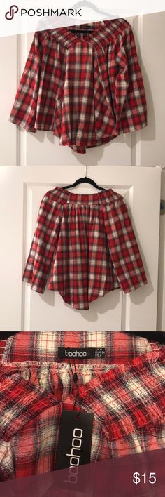 Off the Shoulder Flannel Top BooHoo off the shoulder flannel shirt  ~~BRAND NEW WITH TAGS~~   US 2 • EUR 34 • UK 6 Boohoo Tops
