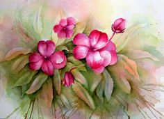 View From the Oak: Beth's Pink Flower Periwinkle Flowers, Pink Flowers, Art Flowers, Flower Cards, Paint Colors, Watercolor Paintings, Gouache, Plants, Sketch