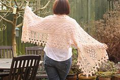 Available as part of the How Does Your Garden Grow set and made to go with the Mary Mary Mitts, this is a pretty and delicate patterned wide wrap that can be worn loosely to keep the chill off your shoulders or to wrap you up cozy like a scarf.