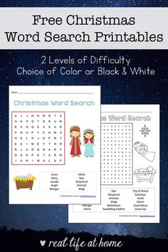 Free Printable Religious Christmas Word Search Printable for Kids (two levels of difficulty, available in black and white and color) #ChristmasWordSearch #ChristmasPrintables #Christmas