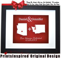 long distance wedding theme gift ideas, personalized unique decor, $24.99