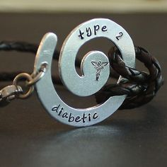 Leather Medical Alert Bracelet  - aluminum swirl - brown leather cord - silver & stainless findings - medical alert symbol stamp