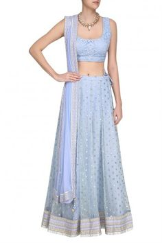 Anita Dongre presents Ice Blue Floral Butti Lehenga set available only at Pernia's Pop Up Shop. Architecture Art Design, Anita Dongre, Engagement Outfits, Lehenga, Anarkali, Pernia Pop Up Shop, Classy And Fabulous, Indian Ethnic, Western Wear