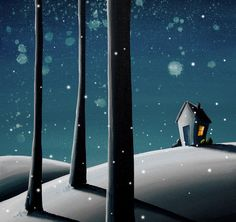 whimsical snow houses painting - Google Search
