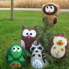 Pick 2 - Woodland Forest Stuffed Animal Hand Sewing PATTERNS - DIY Owl Turtle Hedgehog Raccoon Plushies - Easy. $7.00, via Etsy.