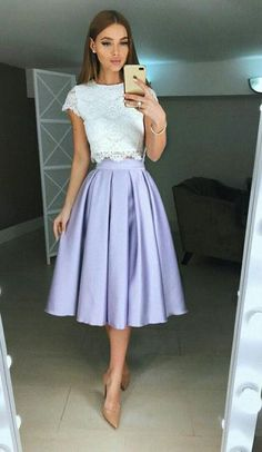 Lace Prom Dresses,Two Pieces Tea Length Homecoming Dresses,Short Prom Dress Prom Dresses Two Piece, Homecoming Dresses, Short Dresses, Elegant Outfit, Mode Inspiration, Skirt Outfits, Dream Dress, Pretty Dresses, Lace Dress