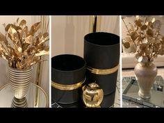 New 2020 Decorating Ideas Glam Mirror, Diy Crafts For Home Decor, Dollar Tree Decor, Black Vase, Gold Vases, Diy Centerpieces, Dollar Store Crafts, Home And Deco, Gold Accents