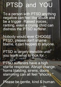 PTSD – Post-traumatic stress disorder is a word you might have heard of in the news or from friends and family, and wondered what it is, or whether you or someone you know or ever known has it… Ptsd Awareness, Mental Health Awareness, Ptsd Quotes, Quotes About Ptsd, Quotes Quotes, Abuse Quotes, Motivational Quotes, Depression Treatment, Ptsd