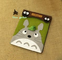 Grey Totoro with Little Coal,  Handmade iPad Mini Pad Cover Bag Case, Finished Felt Fabric Animal Pad Case on Etsy, $19.98