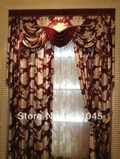 Red Classic Customized Blackout Valance, Window Curtains & Sheers...use track plus rod