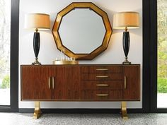 Mid-Century Modern, Asymmetrical Sideboard with Distinctive Flared-Trestled Base.  #TakeFive #Zebrano #LHBDesign