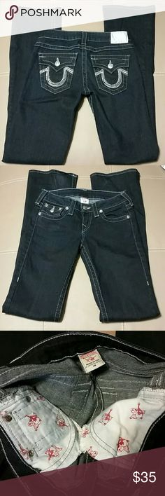 True Religion Jeans Dark wash, Size 26, Inseam 33. Excellent condition! 99% Cotton, 1% Spandex. True Religion Jeans Boot Cut