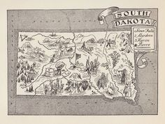 Vintage SOUTH DAKOTA Map Farming Animals FUN Whimsical 50s Picture Map BW 2314