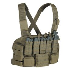 Voodoo Tactical's fully adjustable chest rig has an easy access pocket that will hold maps and documents when worn over body armor. It has five pouches that hold seven M4/M16 30 round mags (doubles on each end) and four covered pistol mag pouches, an attached zippered pouch for IFAK with rear document pocket, multiple zippered ammo/accessory pouches and a padded, adjustable shoulder harness with webbing and attached electronics pouches. Lots of webbing in front to add your mission essential…