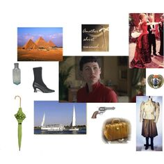 """Amelia Peabody Emerson, created by tigressofindia on Polyvore   Top row: Pyramids, """"Another shirt ruined!"""", crimson satin gown    Middle row: Bottle of black hair dye, boot, picture, scarab   Bottom row: Parasol, dahabeeya, pistol, doctor's bag, rational dress"""