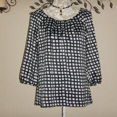 Ann Taylor Women Navy Blue White Checked 3/4 Sleeve Blouse Geometric Size Medium #AnnTaylor #Blouse