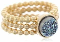 Small Agate Druzy Stacking Gold, Ocean Ring Set #unusualengagementrings