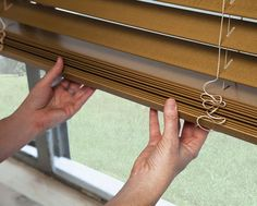 Enjoy classic wood blind styling with sleek cordless control. A look that's always in style, our Cordless Wood Blinds can be precisely raised, lowered and positioned without visible lift cords. Shown in Honey/Oak Wood Valance, Wood Blinds, Window Coverings, Window Treatments, Smith And Noble, Doorbells, Child Safety, Safety Tips, Custom Wood