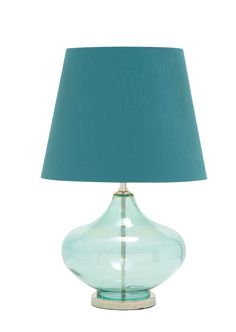 "Modern 27"" Teal Blue Glass Chrome Table Lamp Contemporary Aqua Turquoise Decor"